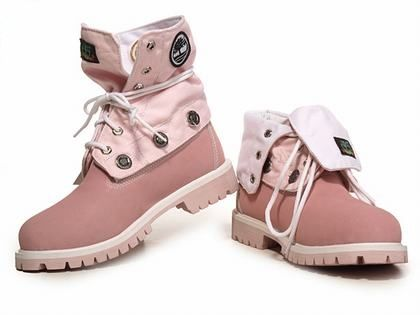 Cheap Timberland Mujer Roll Top Botas Pink and White