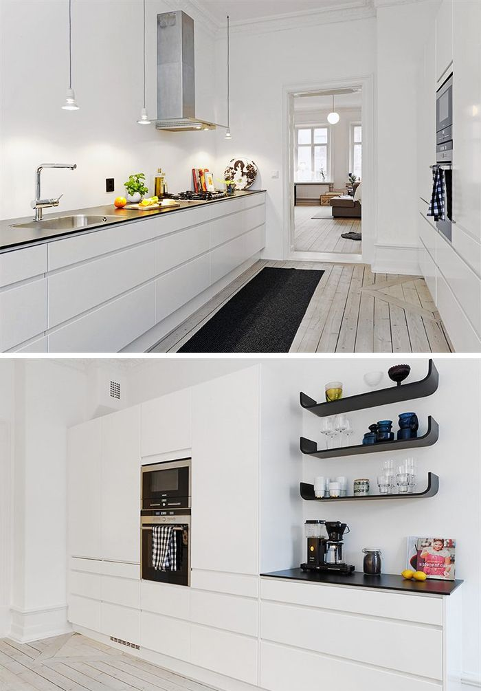 2 side kitchen in clean white. Great contrast with black and the subtle decoration of glasses