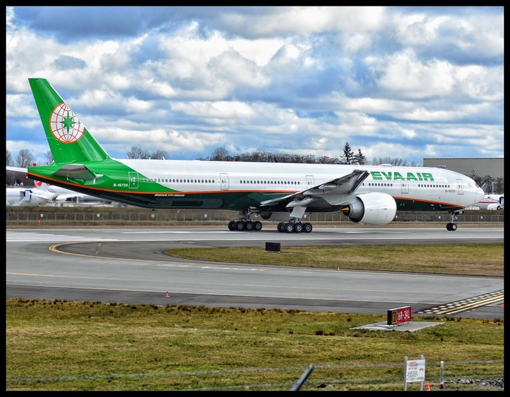 Boeing 777-300ER in Eva Air livery on a test flight at Paine Field in Everett, WA.