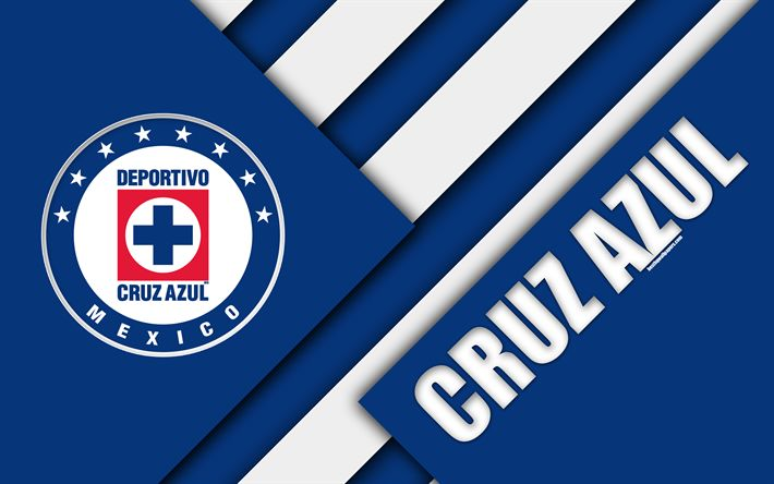 Download wallpapers Cruz Azul FC, 4K, Deportivo Cruz Azul, Mexican Football Club, material design, logo, blue white abstraction, Mexico City, Mexico, Primera Division, Liga MX
