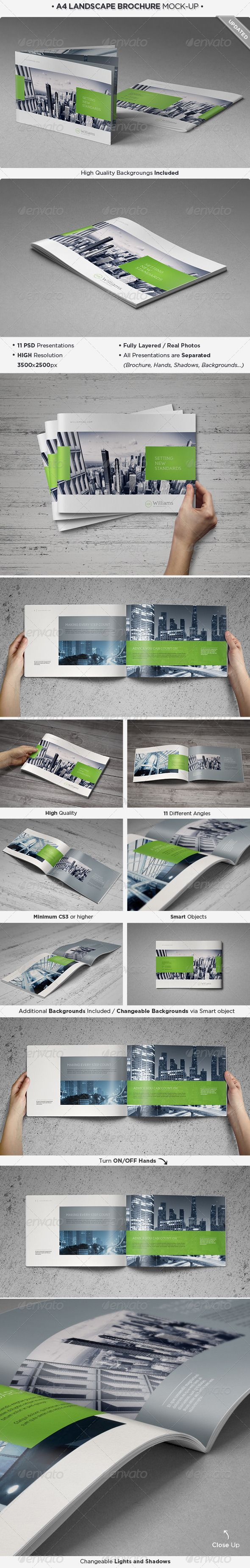 Landscape Brochure Mock-Up Set :  Check out this great #graphicriver item 'Landscape Brochure Mock-Up Set' http://graphicriver.net/item/landscape-brochure-mockup-set/3931284?ref=25EGY