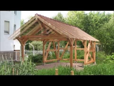 Aufstellen von einem Fachwerk Pavillon Gartenhaus - YouTube