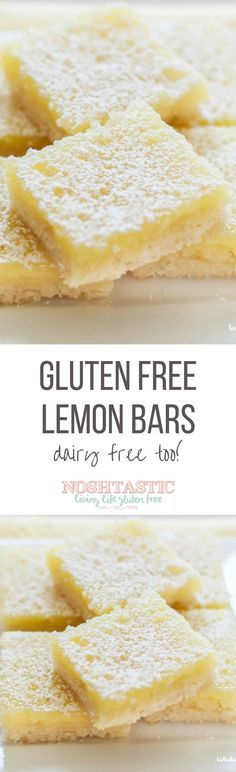A delicious Dairy Free and Gluten Free lemon bars recipe with the best shortbread base. They're the tastiest gluten free dessert bars you'll ever try!