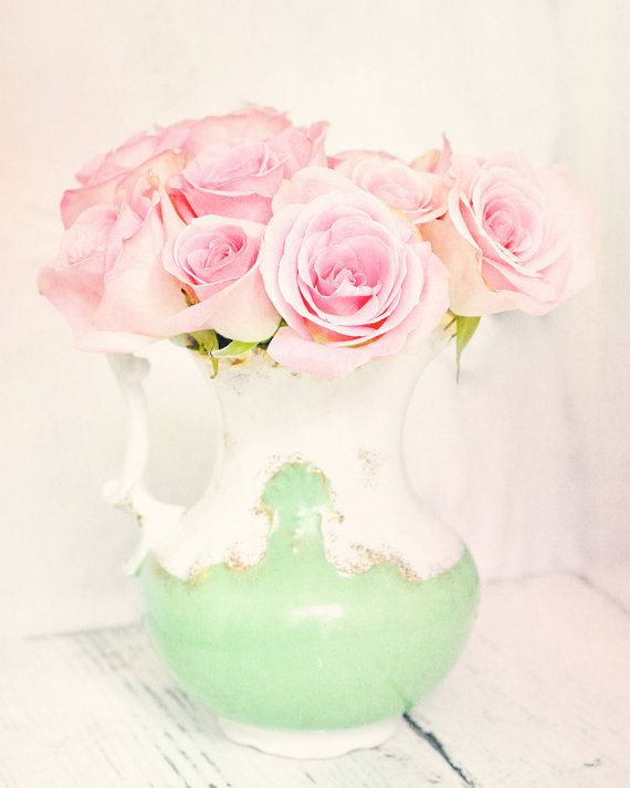 Treasury Pink roses dreamy photography 8x10 mint pink pastel shabby cottage romantic home decor wall art photography print on Etsy, $19.00 By Jenn Hayslip of EyeCandyCreations.