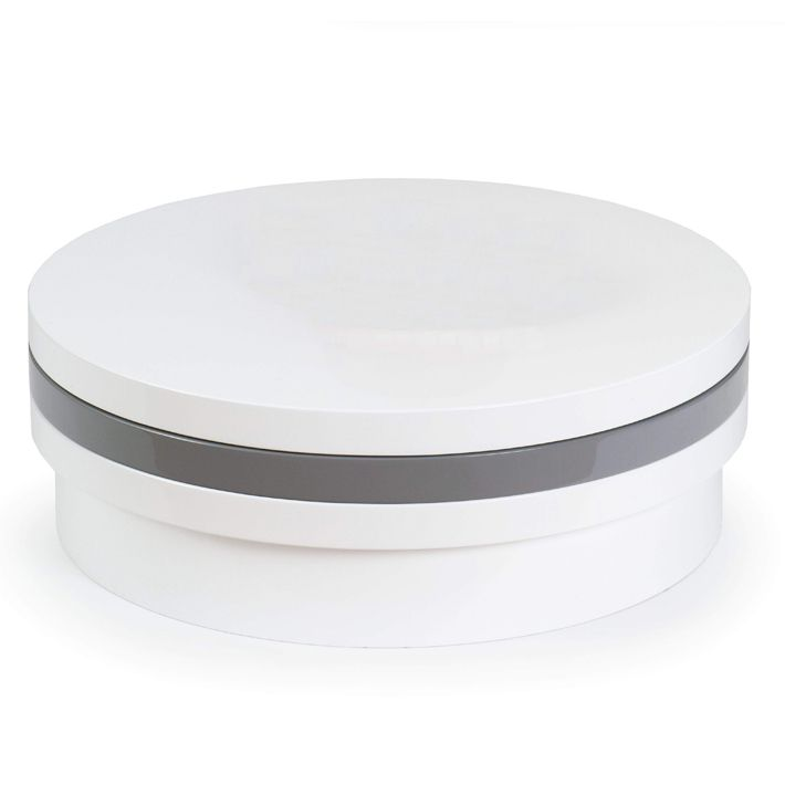 Table basse laquee blanc gris tricolors ronde for Table basse ronde laquee