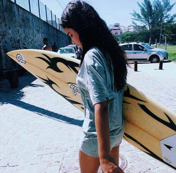 plage, planche, savon, fille, cheveux