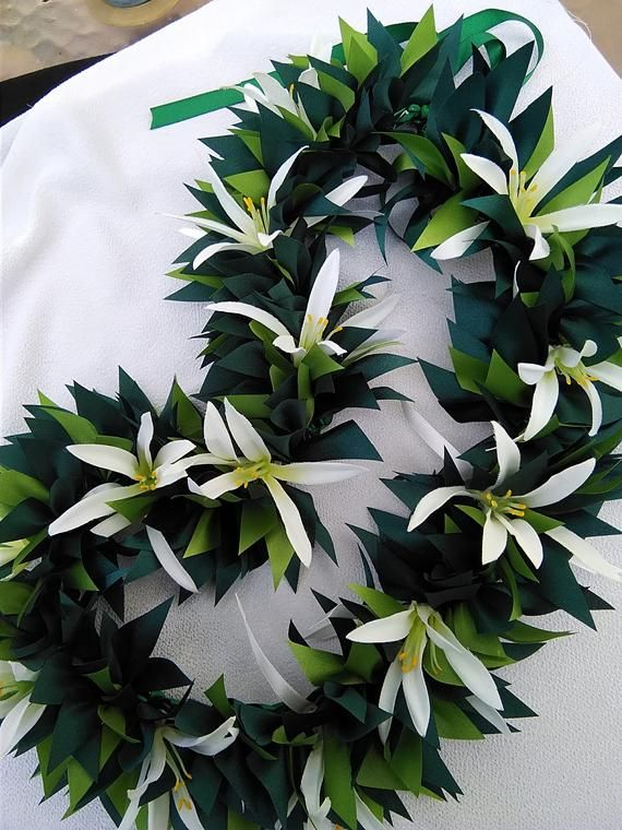 Spider lily with ti-leaf hawaiian ribbon lei