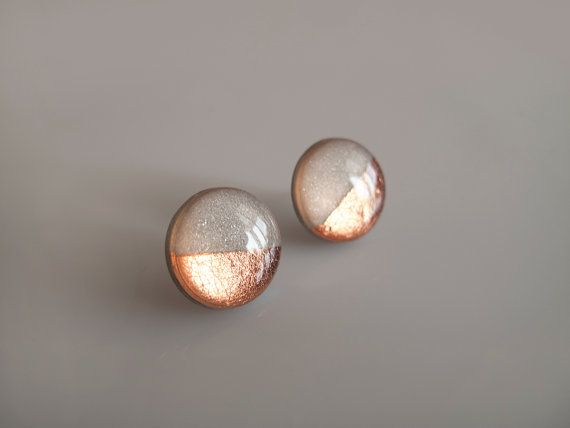 Gray and Copper Stud Earrings - Hypoallergenic Surgical Steel Posts