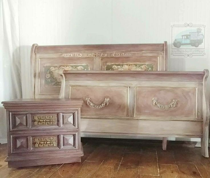 Upcycled refinished Queen Sleigh bed Reimagined inspired Victorian style
