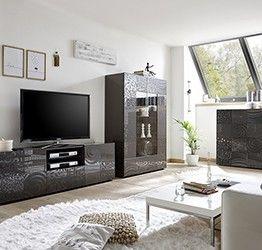 Sala completa di base porta tv, madia e vetrina, grigio serigrafato