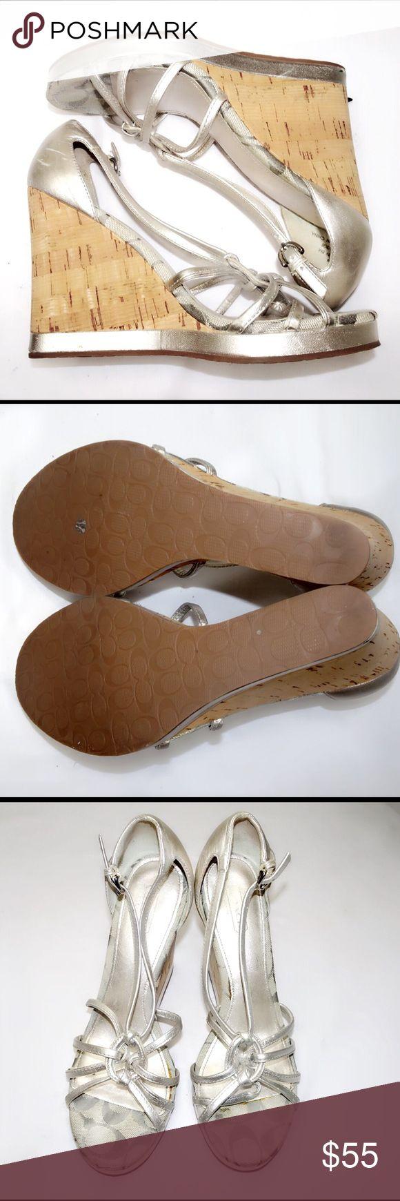 Coach Monogram Silver Wedge Sandals Coach Monogram Silver Wedge Sandals. Only wore a few times Coach Shoes Wedges