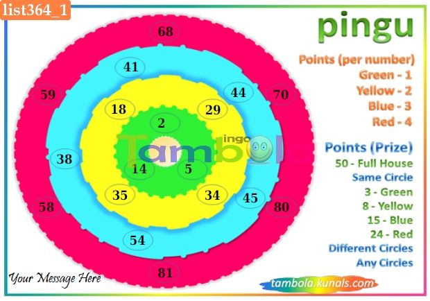 Pingu Anywhere1 in 90 - 9x3 - 18 Cues format : Templates Tickets   Tambola Housie