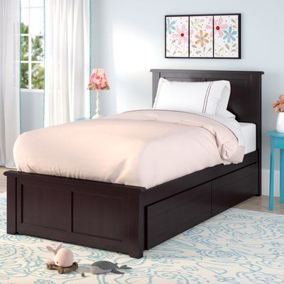 Harriet Bee Alanna Traditional Platform Bed with Underbed Storage Finish: Espresso, Size: Twin