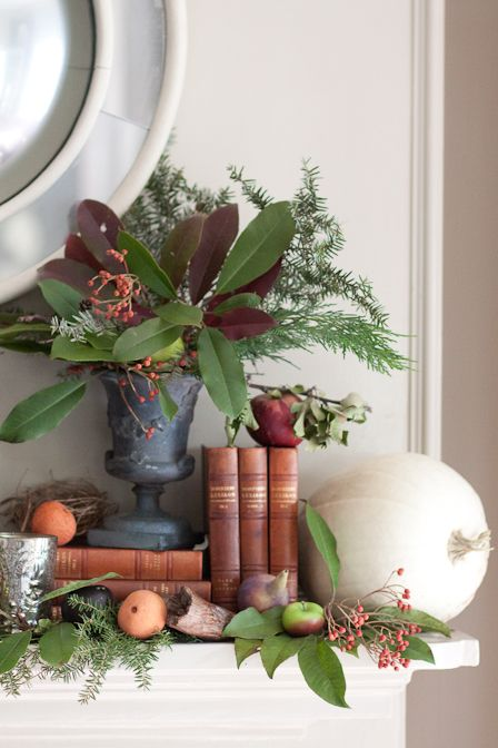 Fall Mantel / Replace oranges and pumpkin with bits of Christmas, for a holiday look!  (Mini-tree, pinecones, ribbon, something sparkly,...?)