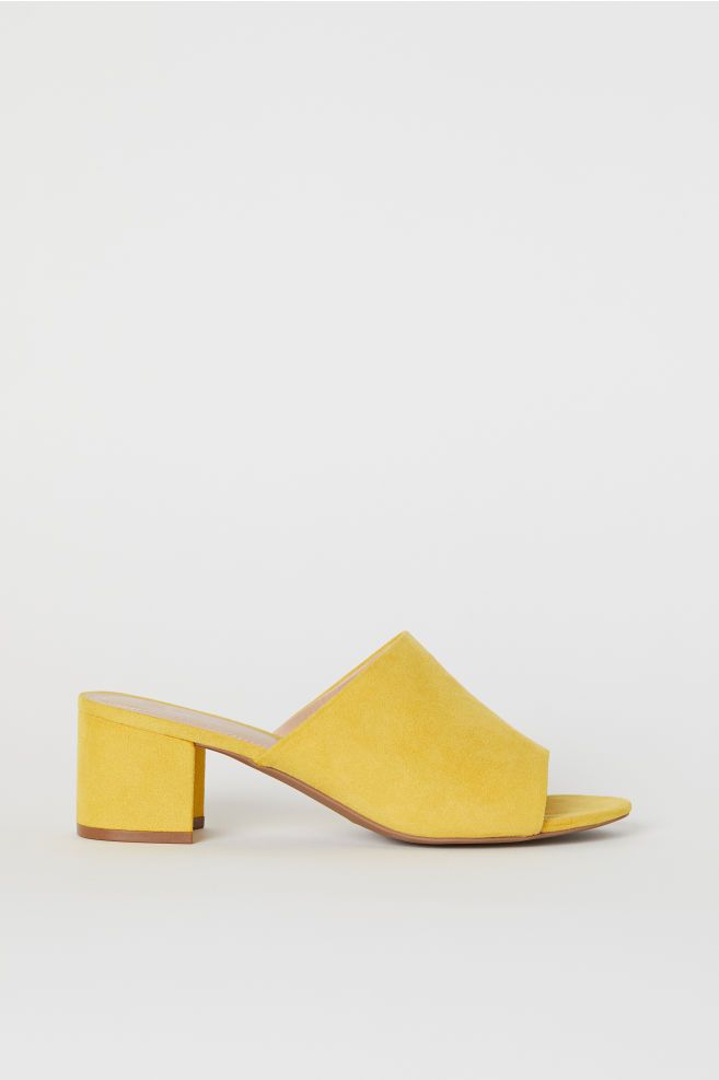 64121f6fc H&M Block-heeled Mules - Yellow in 2019   27. shoes   Heeled mules ...