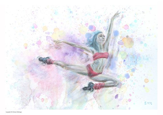 Woman dancer ballerina ballet water colour painting woman art figure painting woman dancer jumping dancer in flight girl dancing wall  art