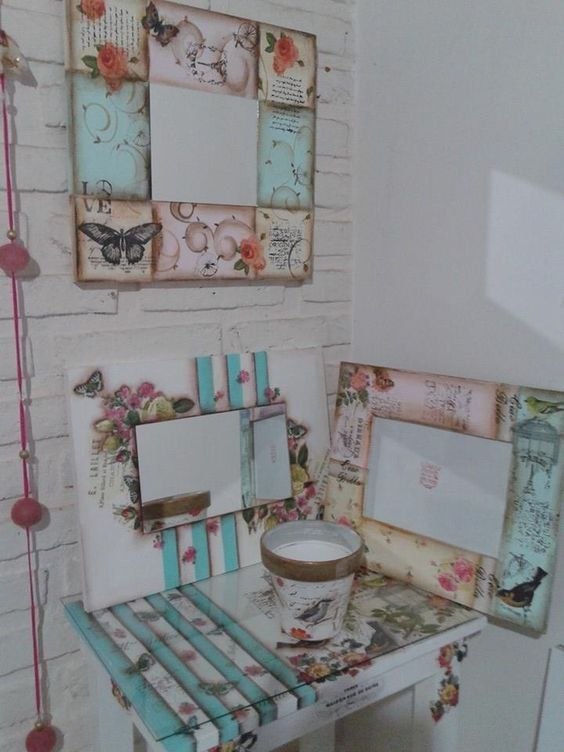 M s de 1000 ideas sobre portaretratos decorados en for Decoracion vintage manualidades