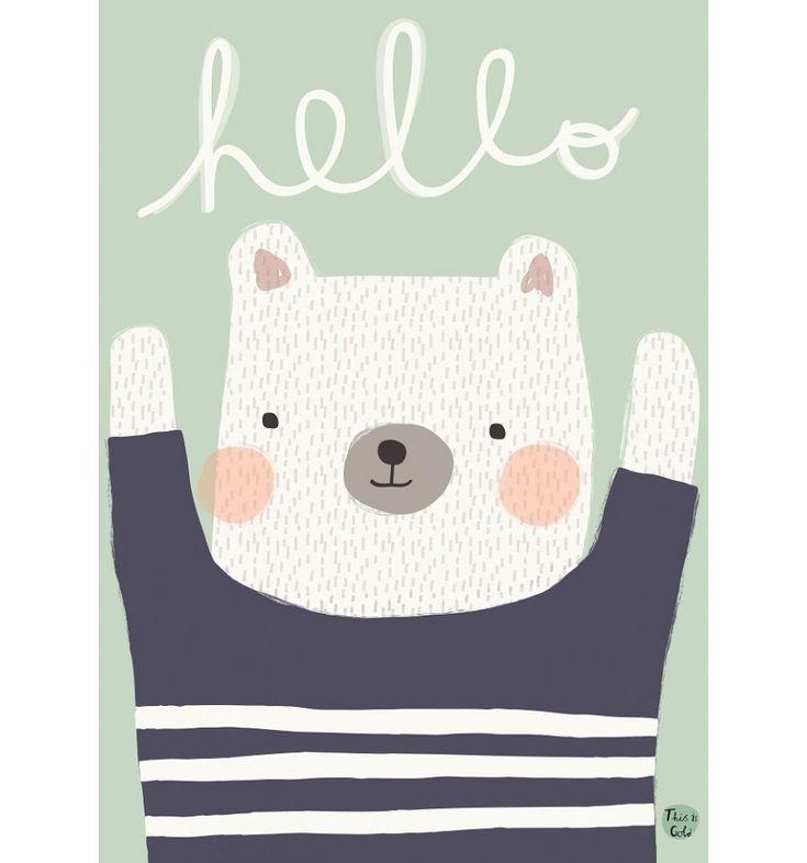 Petit Monkey Poster Bär Hello