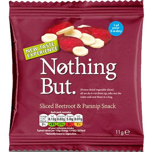 N0thing But Sliced Beetroot & Parsnip Snack from Muscle Food.   Chomping your 5-a-day just got a whole lot easier thanks to this super tasty, super healthy and super handy Beetroot & Parsnip Snack Mix!