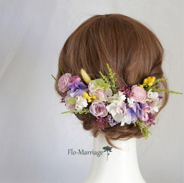 パープル系の明るいヘッドドレス♡ドレス、お着物どちらでも! | ハンドメイドマーケット minne