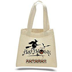 Personalized Halloween Mini Cotton Tote Bag - Halloween bag - Trick or Treat Bag