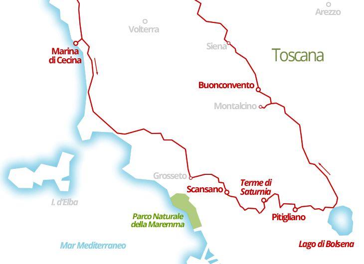 1220 km - Maremma & Val d'Orcia in camper, tra spiagge, terme e vini