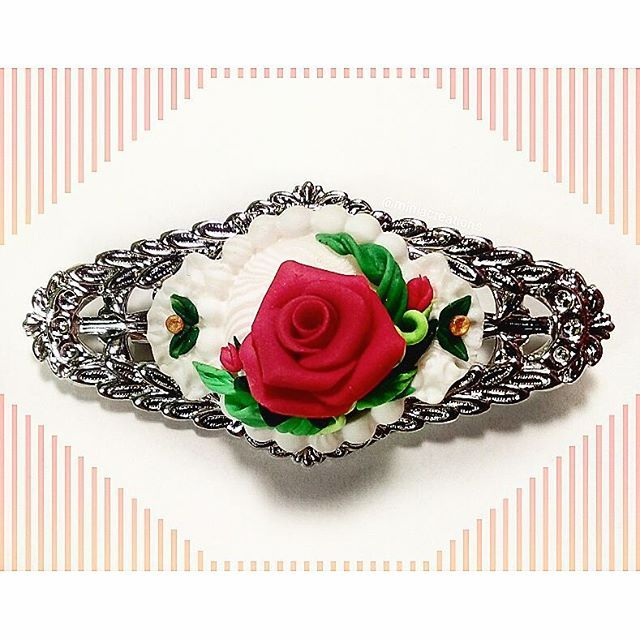 ° • ° • #jewellery #rose #leaf #polymerclay #handmade #faux #flower #lace #red #silver #white #green #bright #roses #flowers #polymer #clay #charm #pin #delicate #petals #sculpture #fimo #sculpey #cute #handcraft #brooch #leaves #jewelry #miniacreations