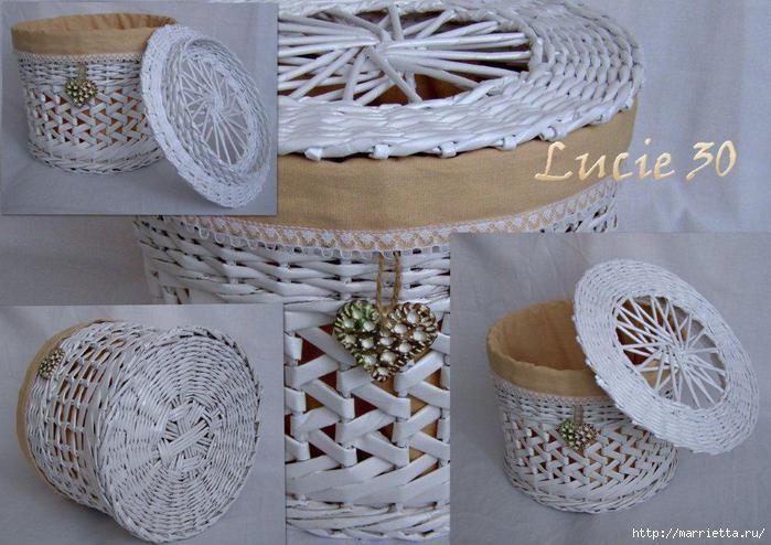 Плетение из газет. Интересный вариант плетния для панно или крышки корзинки (14) (699x494, 194Kb)