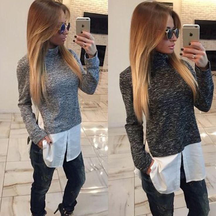 Fashion Womens Turtleneck Jumper Pullover Top T-Shirt Blouse Long Sleeve Sweater
