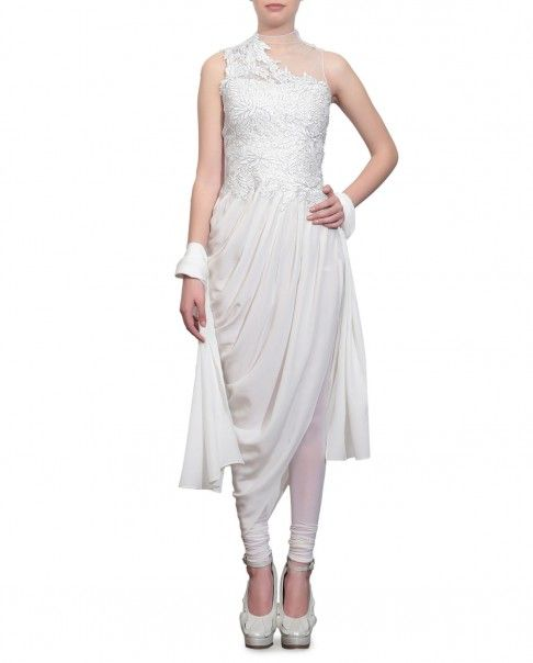 Ivory sleeveless drape kurta with floral embroidery and embellishments adorning the bodice. Round neckline with sheer detailing at front and back. Wash Care: Dry clean only.Matching churidar leggings and dupatta included.