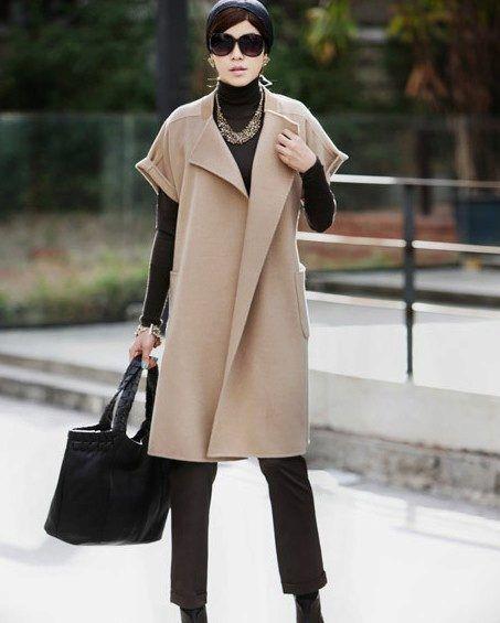 Пальто без рукавов (137 фото): тенденции 2017, женское безрукавное пальто, легкое, удлиненное, с прорезями, модели пальто