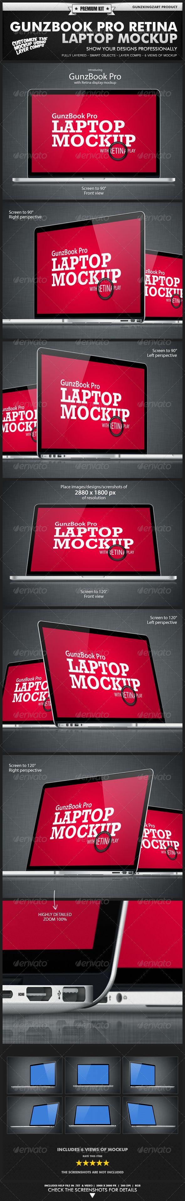 GunzBook Pro Retina Laptop Mockup