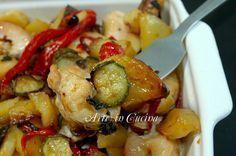 bocconcini di tacchino con patate e peperoni al forno ricetta arte in cucina