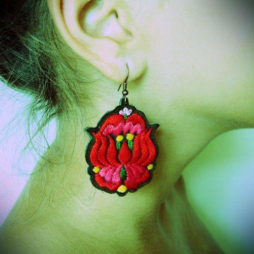 "Hungarian ""kalocsai"" motive earrings-handmade"
