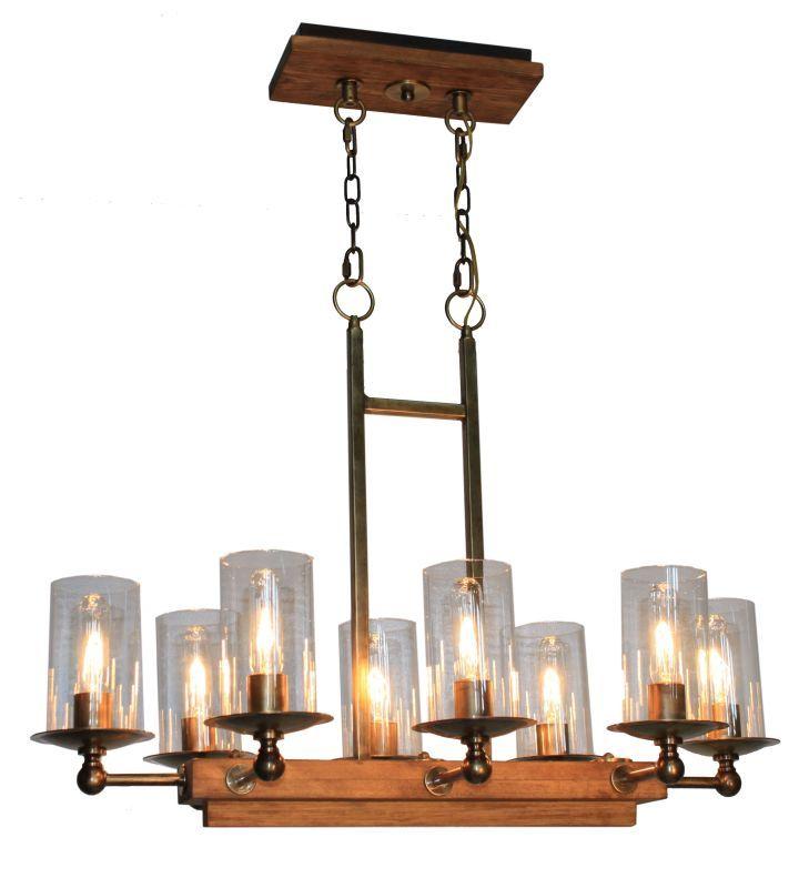 Artcraft Lighting AC10148 Legno Rustico 8 Light Linear Island Light Burnished Brass Indoor Lighting Chandeliers