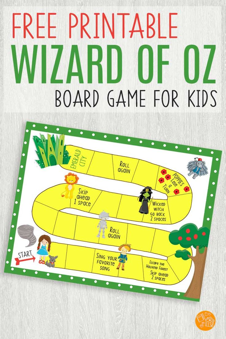 Free Printable Wizard of Oz Inspired Board Game for Kids