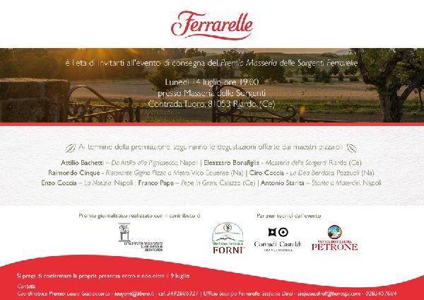 Lunedì 14 luglio a Riardo gran finale del Premio Masseria delle Sorgenti Ferrarelle con sette maestri pizzaioli