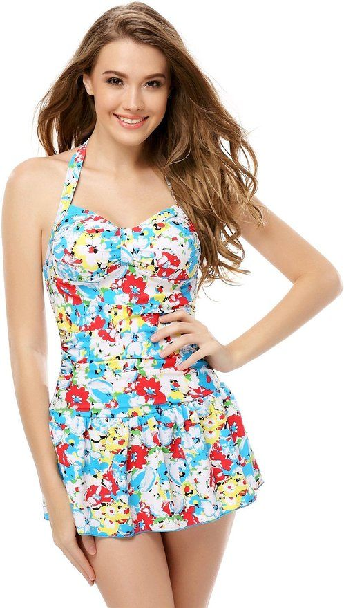 Womens tripe One Piece Swimsuit with Falsies: Clothing