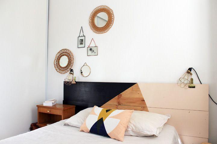 Une chambre douce et graphique avec une tête de lit fait maison