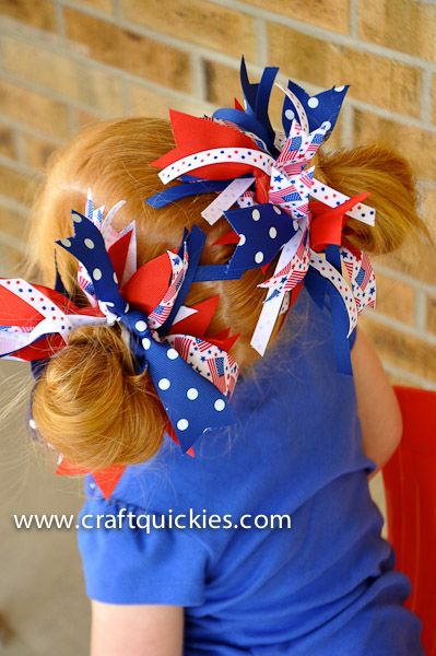 Patriotic hairbows are cute and so easy!