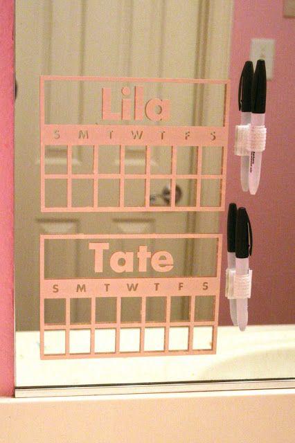 Here's a cute vinyl chart idea with vinyl on the bathroom mirror!