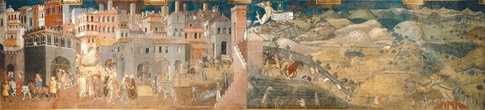 Effetti del Buongoverno  - Lorenzetti Ambrogio (1285-1348) - STAMPA SU TELA € 41,31