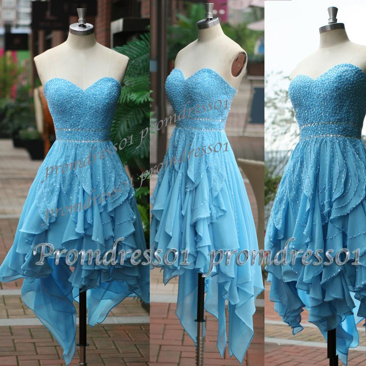 2015 unique cute blue sweetheart high low strapless prom dress for teens,ball…