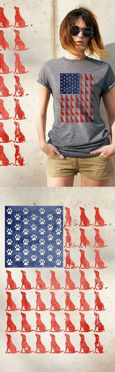 Graphic American Flag with dogs