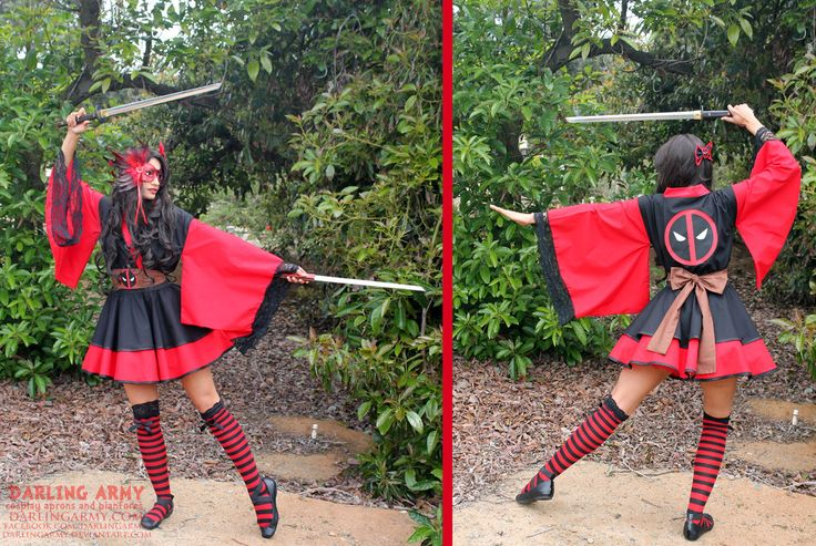 Deadpool Cosplay Lolita Kimono Dress by DarlingArmy.deviantart.com on @deviantART