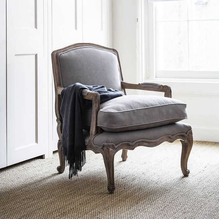 rochelle dove grey french armchair by alison at home | notonthehighstreet.com