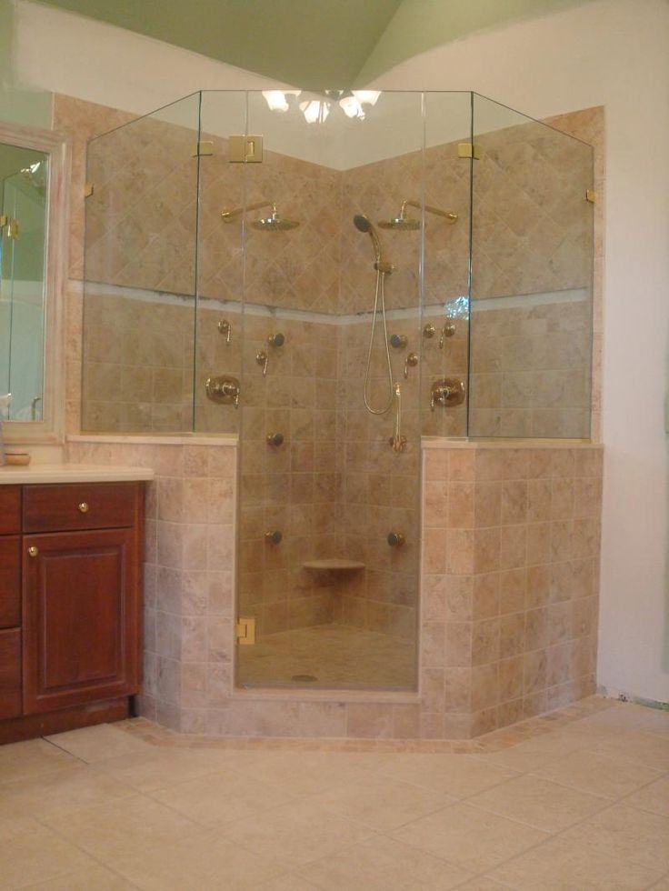 Corner Shower No Door Half Glass Master Pinterest