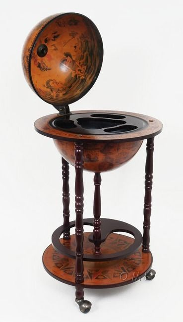 """Old World Globe Wood Hidden Home Bar Cart 17"""""""""""