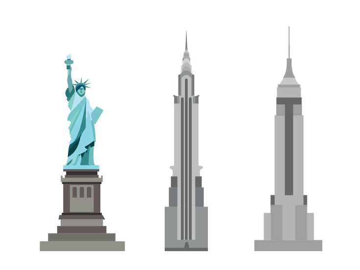 The liberty statue,The chrysler building,Empire state building by Kubanek Csaba