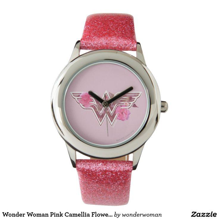 Wonder Woman Pink Camellia Flowers Logo Watch #superhero #DC #comics #wonder #woman #official #licensed #merchandised #fashion #statement #wrist #watch #timepiece
